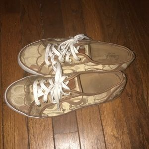 Coach Canvas Logo Sneakers Gold Brown Size 9.5